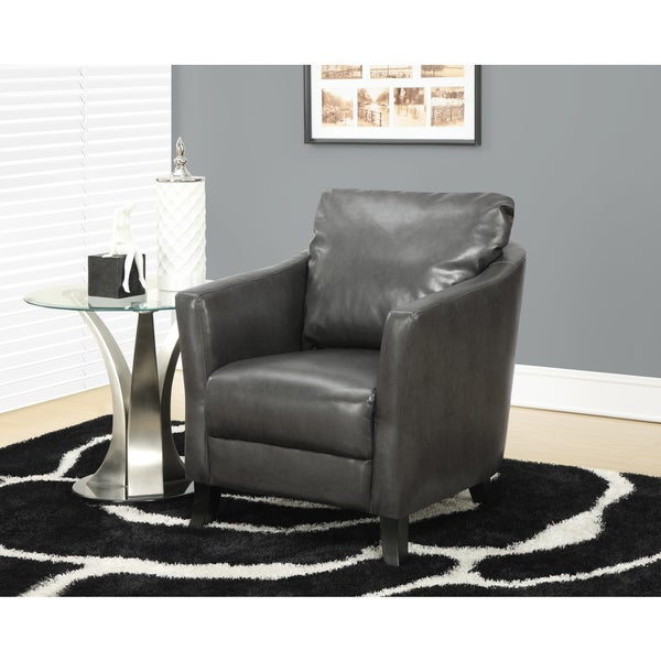 Charcoal Grey Leather look Accent Chair Free Shipping