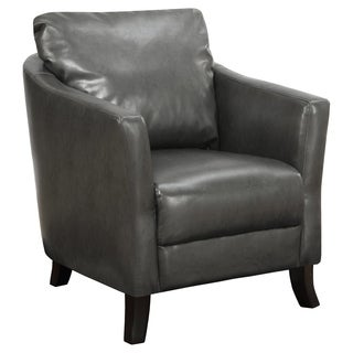 Charcoal Grey Leather-look Accent Chair