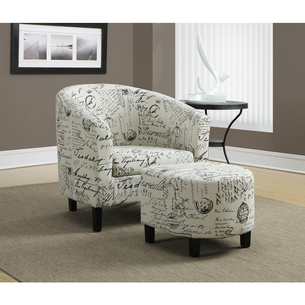 Attrayant Vintage French Fabric Accent Chair And Ottoman