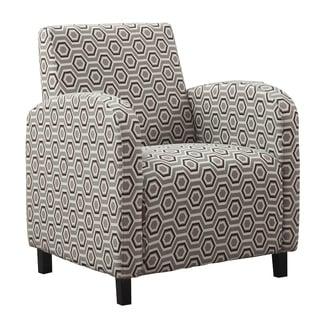 Grey/ Earth-tone 'Hexagon' Fabric Accent Chair