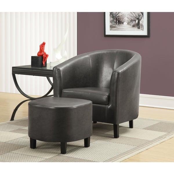 Charcoal Grey Leather Look Accent Chair And Ottoman Free