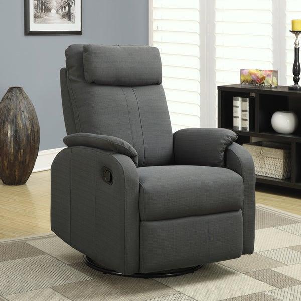 shop charcoal grey linen fabric swivel rocker recliner free