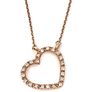 Diamonds For A Cure 14k Rose Gold 1/10ct TDW Diamond Heart Necklace (H-I, SI1-SI2)