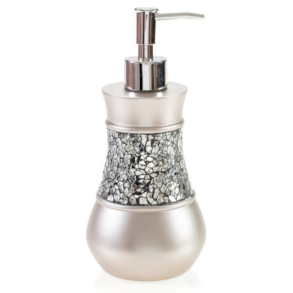 Crackled Glass Nickel Piece Bath Accessory Set Free Shipping - Silver crackle glass bathroom accessories