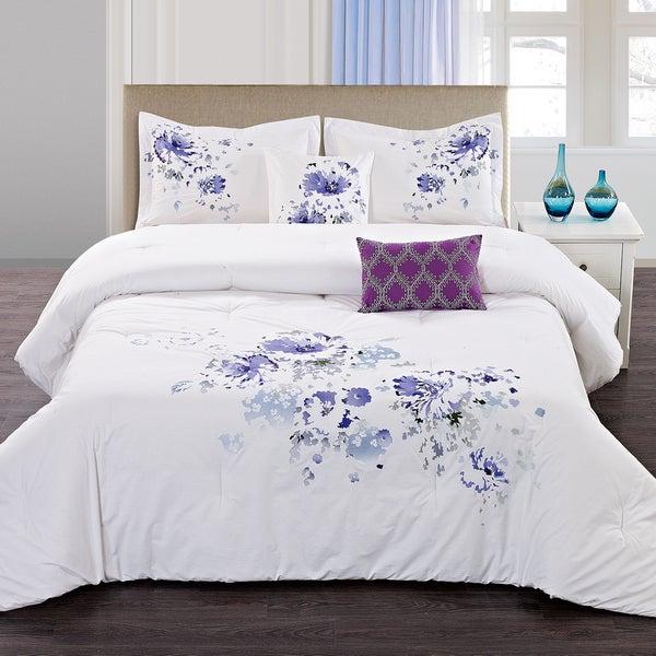 Shop Floral Spray 5 Piece Cotton Comforter Set Free