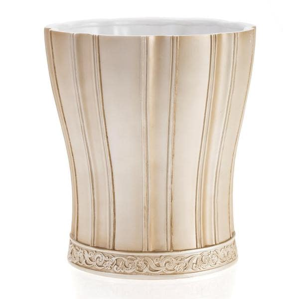 Victoria Striped Beige Wastebasket