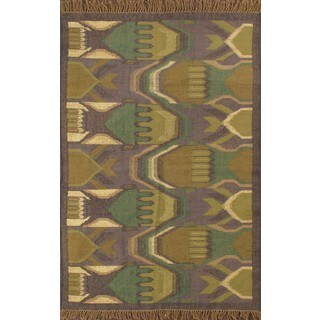 Southwestern Purple Hand-knotted Jute Rug (4' x 6')