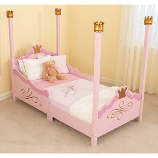KidKraft Girls' Princess Pink and Gold-trimmed Wood Toddler Bed