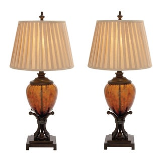 Del Mar Contemporary Amber Glass Handcrafted Table Lamp (Set of 2)