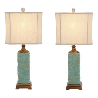 Carmel Seafoam Handcrafted Ceramic Table Lamp (Set of 2)