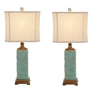 Carmel Seafoam Handcrafted Ceramic Table Lamp (Set of 2)