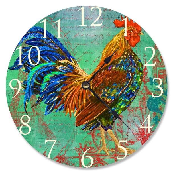 Rainbow Rooster Vanity Clock