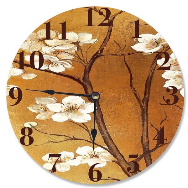 White Floral Crimson Vanity Clock
