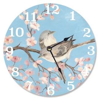 Blue Blossom Bird Vanity Clock