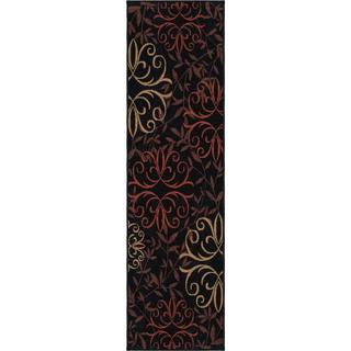 Indoor/ Outdoor Napa Fleur Medallions Black Rug (2'3 x 8')