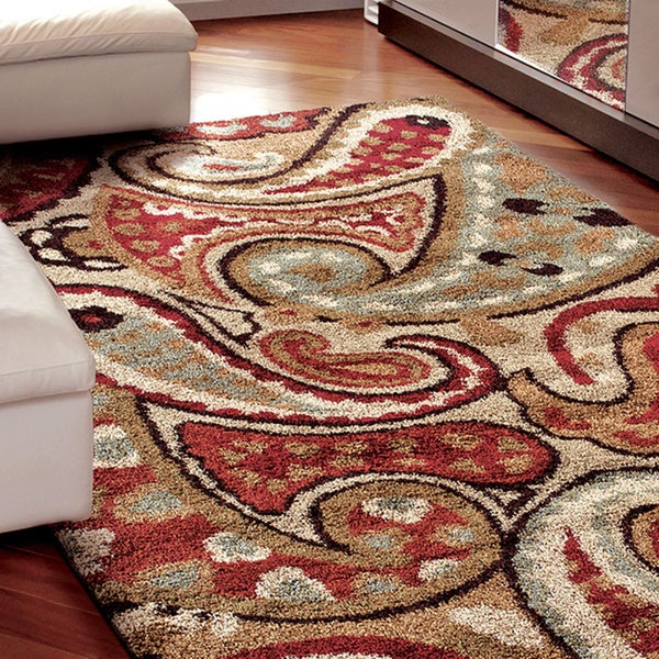 "Carolina Weavers Grand Comfort Collection Offbeat Pail Multi Shag Area Rug - 7'10"" x 10'10"""