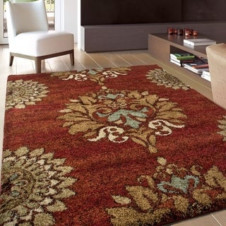 Carolina Weavers Grand Comfort Collection Curtis Red Shag Area Rug (5'3 x 7'6)
