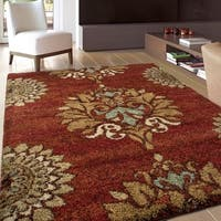 Carolina Weavers Grand Comfort Collection Curtis Red Shag Area Rug - 5'3 x 7'6