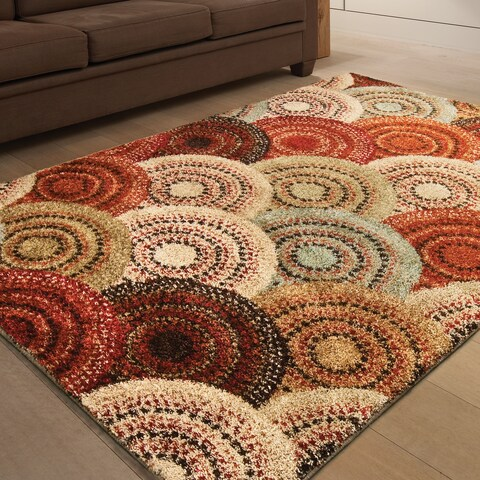 "Carolina Weavers Grand Comfort Collection Pinochle Multi Shag Area Rug (5'3 x 7'6) - 5'3"" x 7'6"""