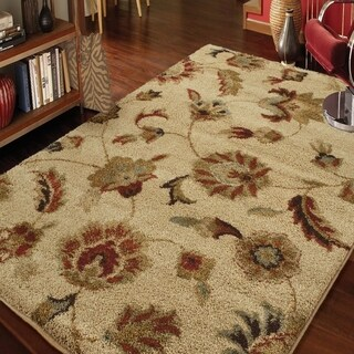 "Carolina Weavers Grand Comfort Collection Floral Tendon Beige Shag Area Rug (5'3 x 7'6) - 5'3"" x 7'6"""