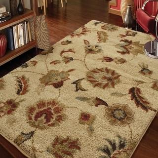 Carolina Weavers Grand Comfort Collection Floral Tendon Beige Shag Area Rug (5'3 x 7'6) - 5'3 x 7'6