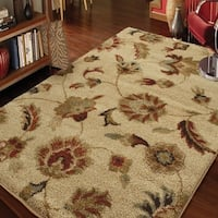 Carolina Weavers Grand Comfort Collection Floral Tendon Beige Shag Area Rug - 5'3 x 7'6