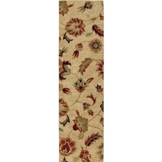Carolina Weavers Grand Comfort Collection Floral Tendon Beige Shag Runner (2'3 x 8') - 2'3 x 8'