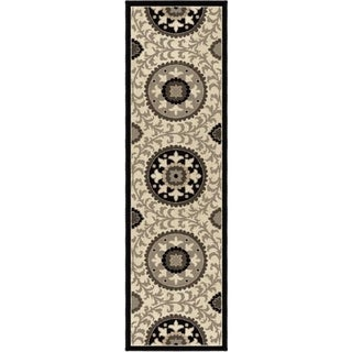 Carolina Weavers Finesse Collection Geo Crest Grey Runner (2'3 x 8')