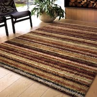 Carolina Weavers Shag Scene Collection Toran Multi Shag Area Rug - 7'10 x 10'10