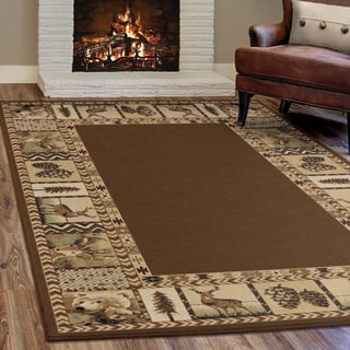 Carolina Weavers Nativity Collection Georgic Brown Area Rug (5'3 x 7'6)