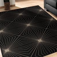 "Carolina Weavers Finesse Collection Magic Lines Black Area Rug (5'3 x 7'6) - 5'3"" x 7'6"""