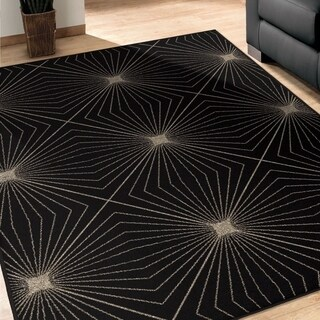 Carolina Weavers Finesse Collection Magic Lines Black Area Rug - 5'3 x 7'6