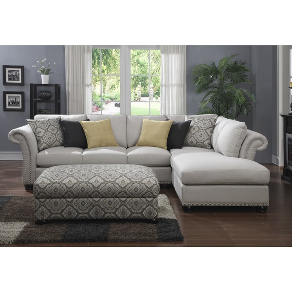 Emerald 2 piece beige chaise sectional and storage ottoman for Beige sectional with chaise