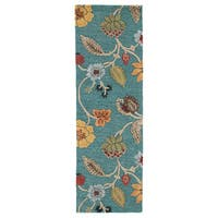 "Bloomsbury Handmade Floral Blue/ Multicolor Area Rug (2'6"" X 8')"