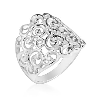 Handmade Clustered Spirals and Swirls Front Sterling Silver Ring (Thailand)
