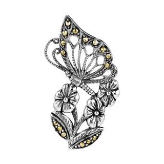 Handmade Butterfly Kiss Flower Marcasite .925 Silver Slide Pendant (Thailand)