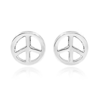 Handmade Peace Symbol 8mm Circle .925 Silver Stud Earrings (Thailand)