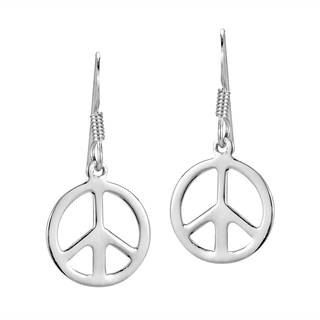 Round 13mm Peace Sign 'No War' .925 Silver Dangle Earrings (Thailand)