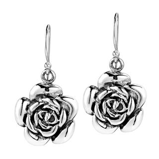 Handmade Sweet Blooming Rose .925 Silver Dangle Earrings (Thailand)
