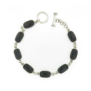 Handcrafted Sterling Silver and Onyx Links Toggle Bracelet (Thailand)