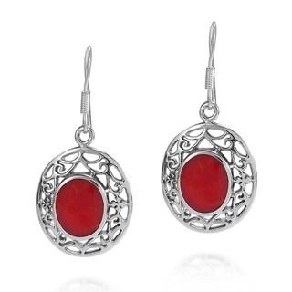 Filigree Swirls Oval Stone Dangle .925 Silver Earrings (Thailand)
