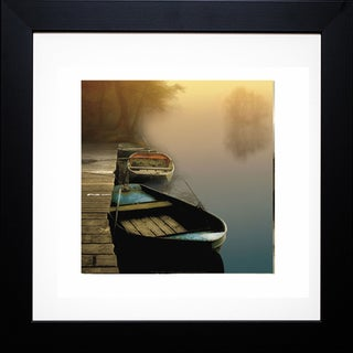 Steven Mitchell 'Misty Boats' Framed Artwork - Brown