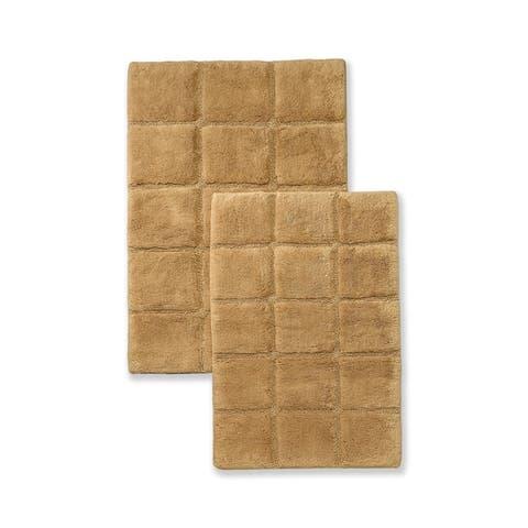 Miranda Haus Cotton Checkers 2-piece Non-skid Bath Rug