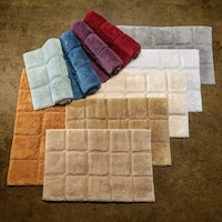 Superior Collection Luxurious Cotton Checkers Non Skid 2 Piece Bath Rug Set
