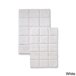 Superior Collection Luxurious Cotton Checkers Non-skid 2-piece Bath Rug Set (2 options available)