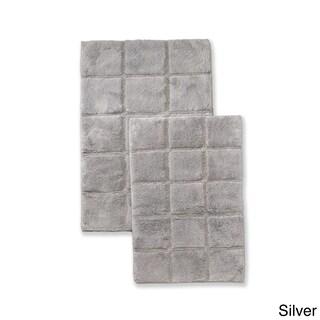 Superior Collection Luxurious Cotton Checkers Non-skid 2-piece Bath Rug Set (Option: Silver)