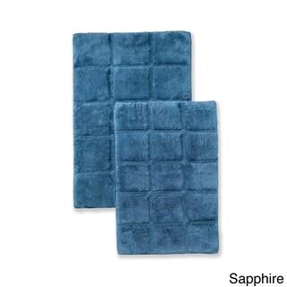 Superior Collection Luxurious Cotton Checkers Non-skid 2-piece Bath Rug Set - 30 x 20