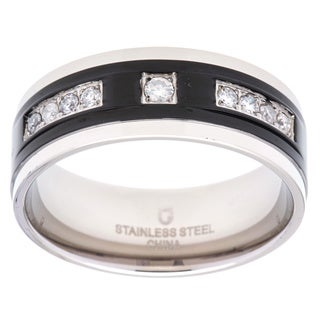 Stainless Steel 1/4ct TDW Prong-set Diamond Men's Wedding Band