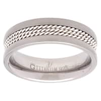 Titanium and Sterling Silver Rope Band