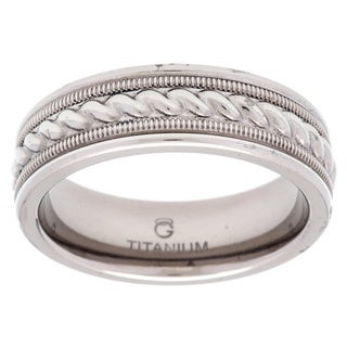 Titanium and Sterling Silver Textured Rope Band